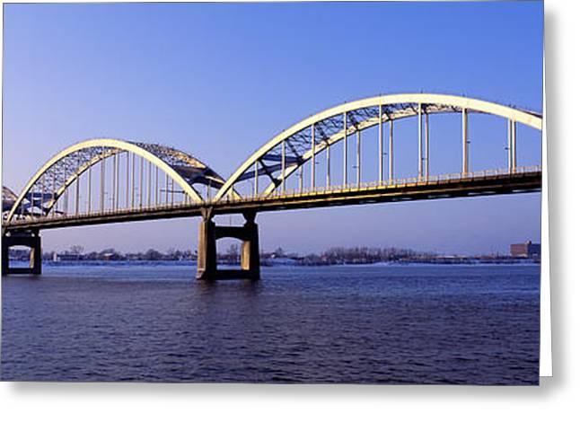 Centennial Bridge, Iowa, Illinois, Usa Greeting Card by Panoramic Images