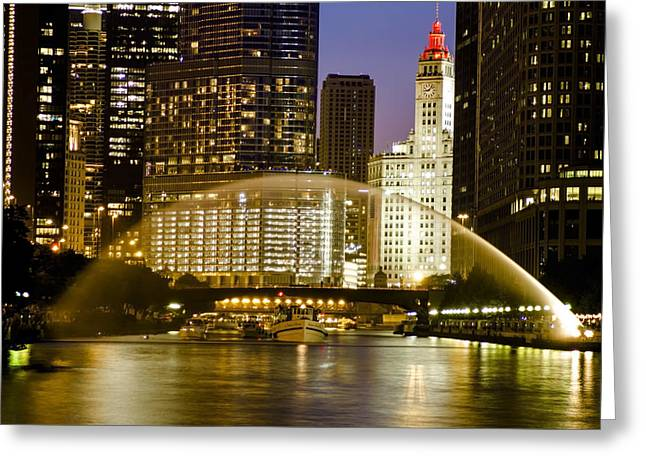 Centennial Fountain Over Chicago River At Dusk Greeting Card