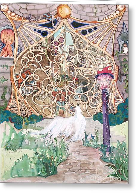 Center Of The World Greeting Card by Maya Simonson