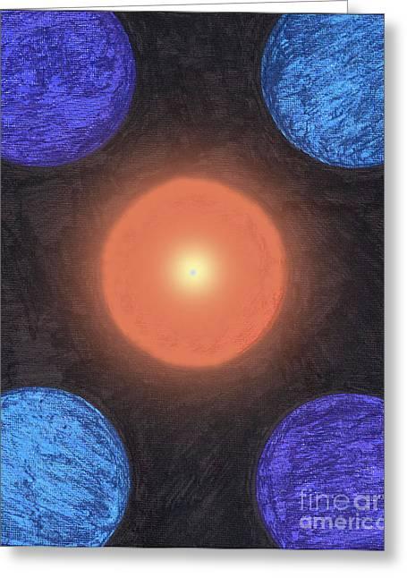 Center Orbit Greeting Card by TB Schenck