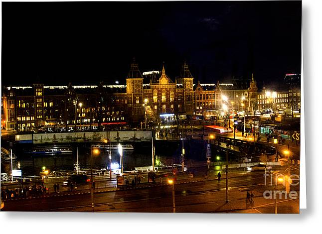 Centraal Station At Night Greeting Card by Pravine Chester