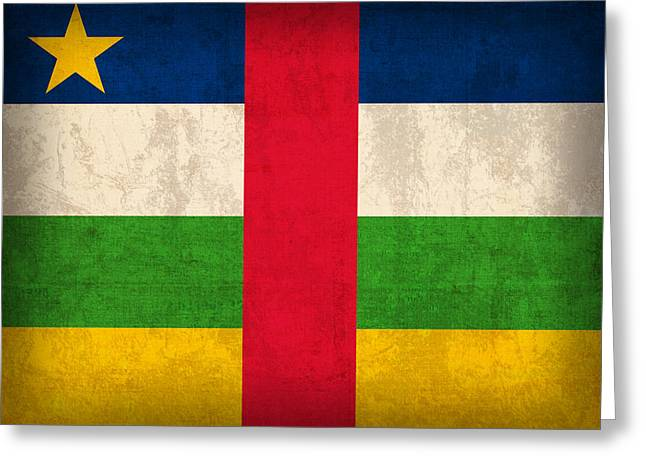 Central African Republic Flag Vintage Distressed Finish Greeting Card by Design Turnpike