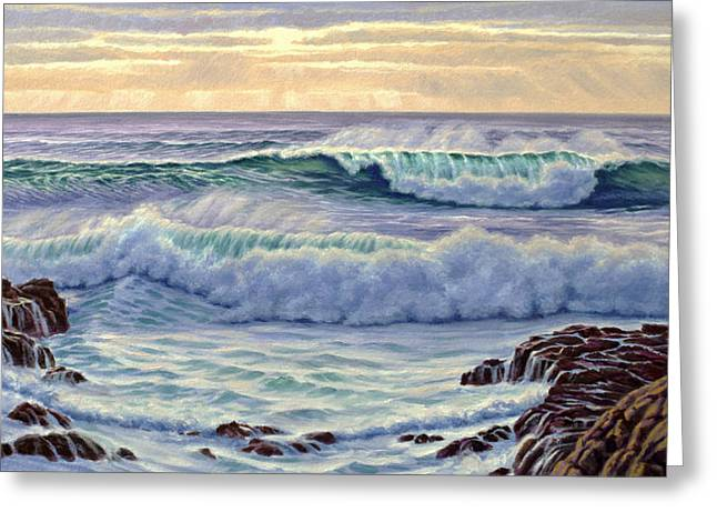 Central Pacific Surf Greeting Card by Paul Krapf