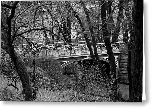 Central Park 2 Black And White Greeting Card