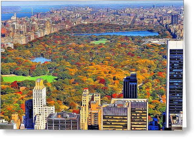Central Park And Manhattan In Autumn Greeting Card by Dan Sproul