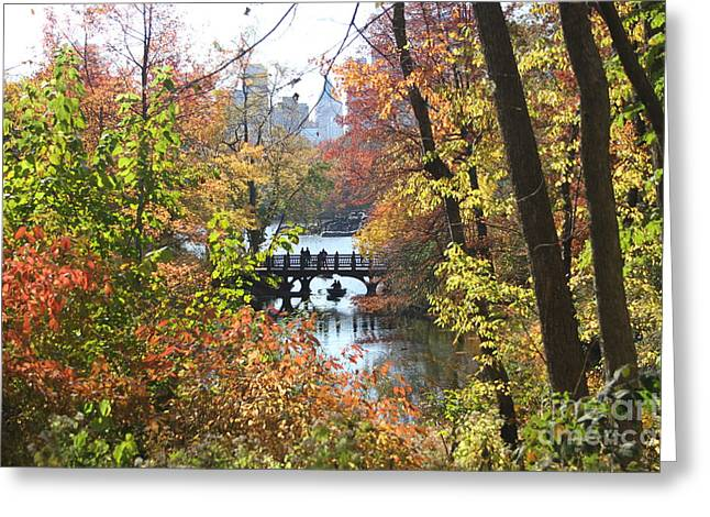 Greeting Card featuring the digital art Central Park In The Fall-2 by Steven Spak