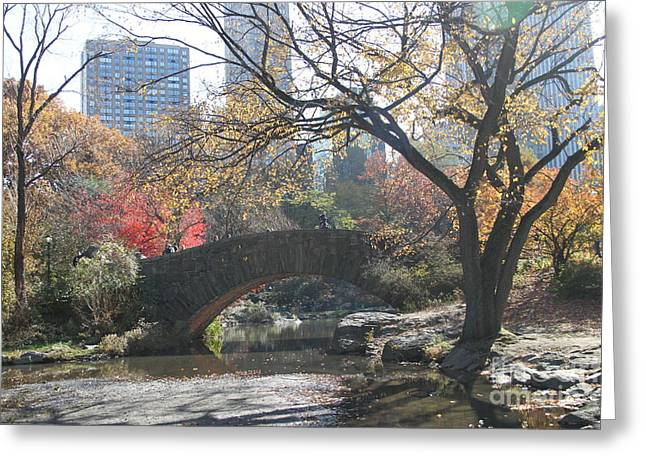 Greeting Card featuring the digital art Central Park In The Fall-3 by Steven Spak