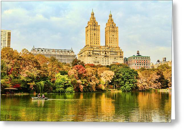 Central Park Lake In Autumn Greeting Card by Geraldine Scull