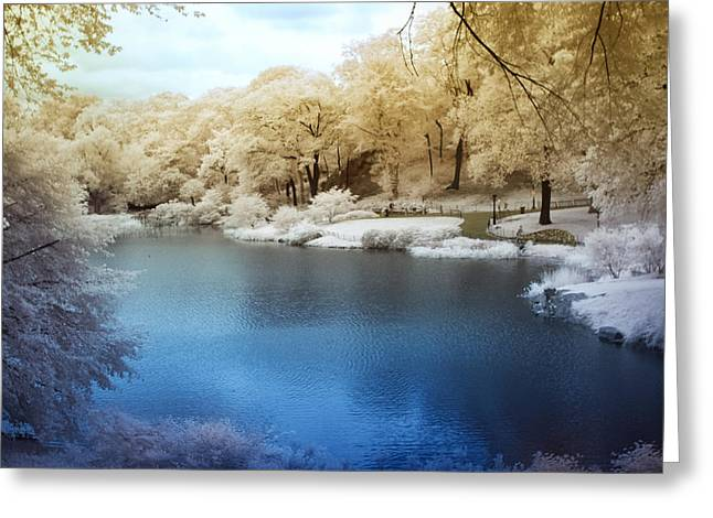 Central Park Lake Infrared Greeting Card