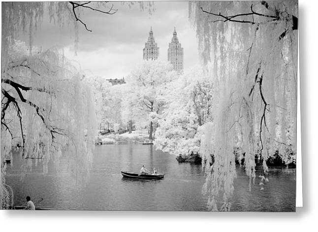 Greeting Card featuring the photograph Central Park Lake-infrared Willows by Dave Beckerman