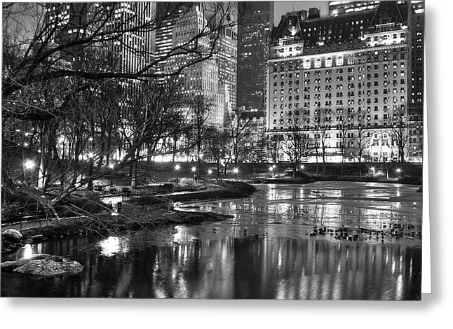 Central Park Lake Night Greeting Card