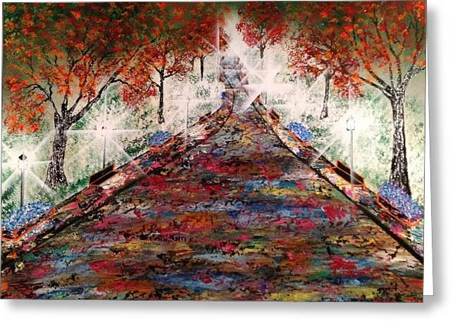 Greeting Card featuring the painting Central Park - New York by Michael Rucker