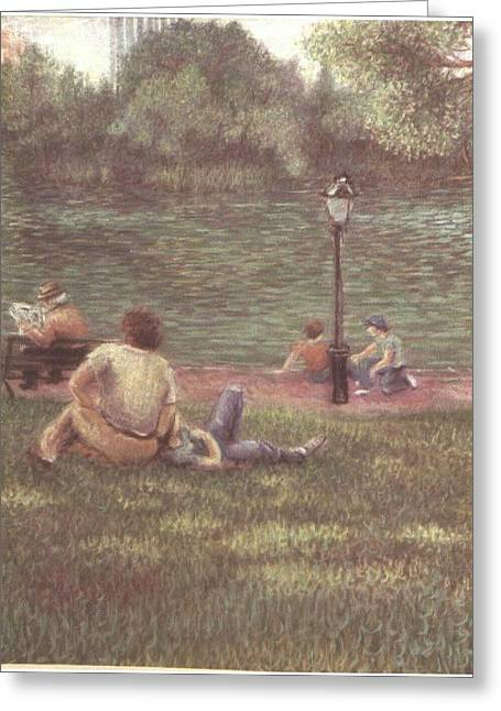 Greeting Card featuring the painting Central Park Nyc by Walter Casaravilla
