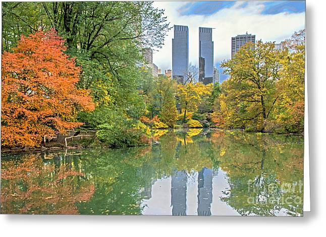Central Park Pond In Autumn Greeting Card by Regina Geoghan