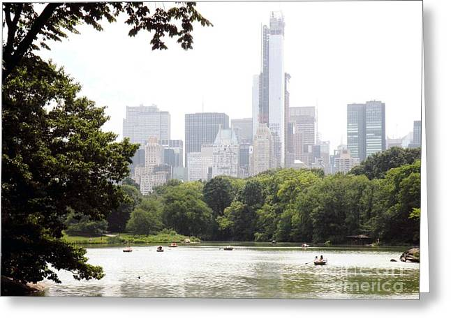 Central Park Pond Greeting Card by Robert Daniels