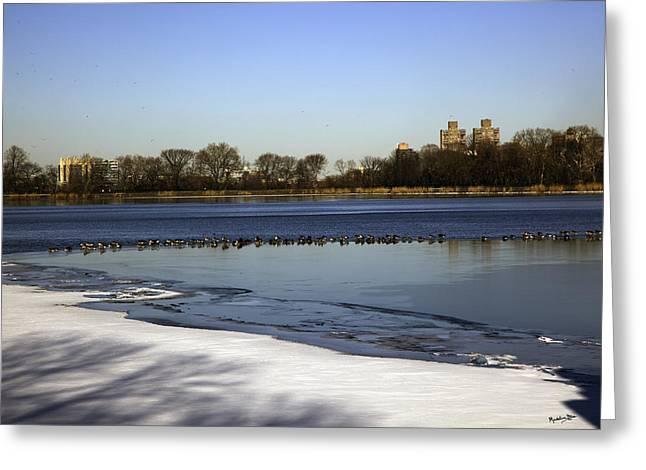 Central Park Reservoir - Nyc Greeting Card by Madeline Ellis