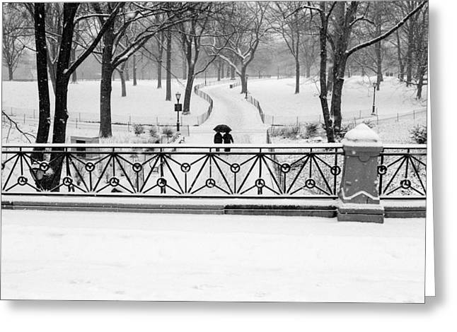 Greeting Card featuring the photograph Central Park Snow by Dave Beckerman