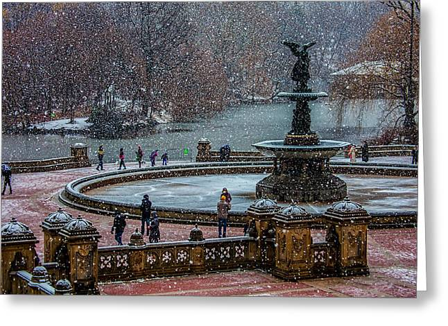 Central Park Snow Storm Greeting Card by Chris Lord