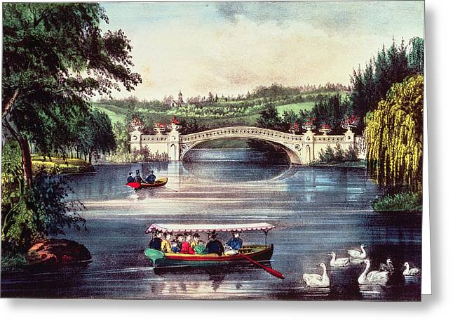 Central Park   The Bridge  Greeting Card by Currier and Ives
