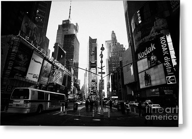 Centre Of Times Square In Daytime With Pedestrians And Metro Bus New York City Greeting Card