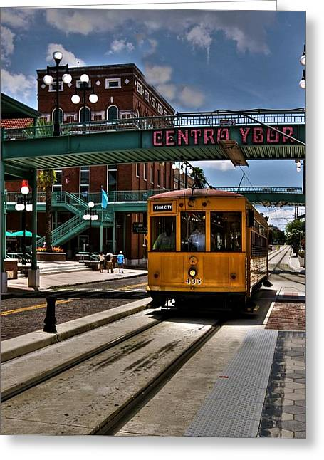 Centro Ybor Stop Greeting Card by Kandy Hurley