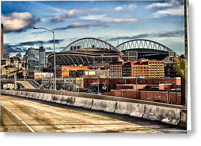Greeting Card featuring the photograph Century Link Field Seattle Washington by Michael Rogers