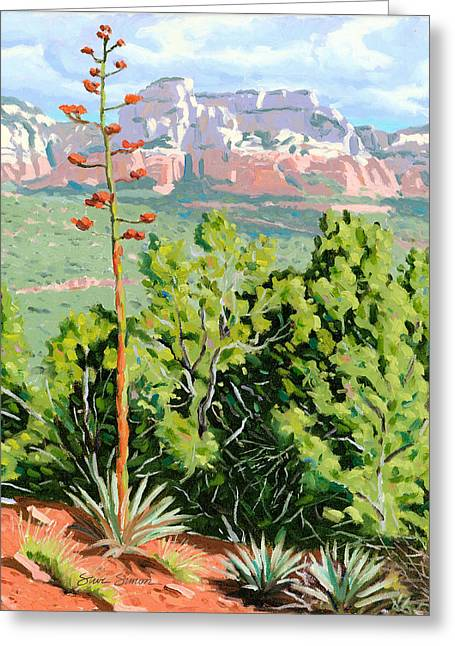 Century Plant - Sedona Greeting Card by Steve Simon