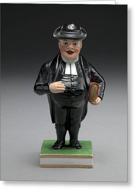 Ceramic, A Cleric Rotund Figure In White Clerical Collar Greeting Card by Litz Collection
