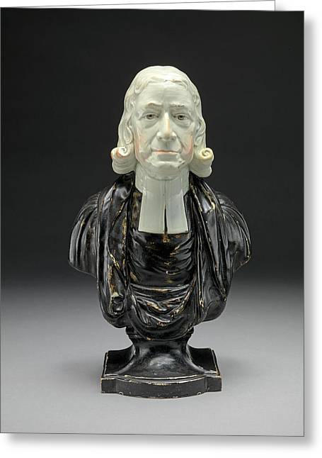 Ceramic Bust Of The Reverend John Wesley In Clerical Collar Greeting Card by Litz Collection