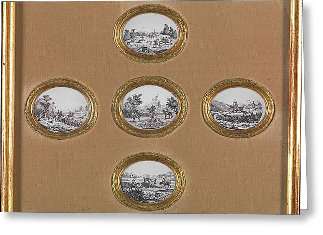 Ceramic Hunting Scenes Five Oval Plaques In One Frame Greeting Card by Litz Collection