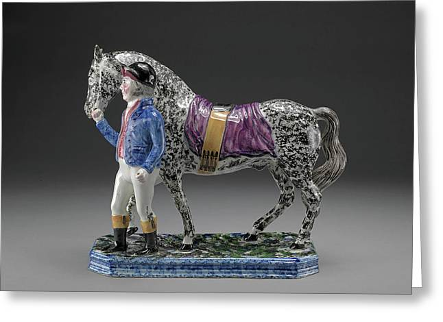Ceramic Jockey And Racehorse He In Black Cap Greeting Card by Litz Collection
