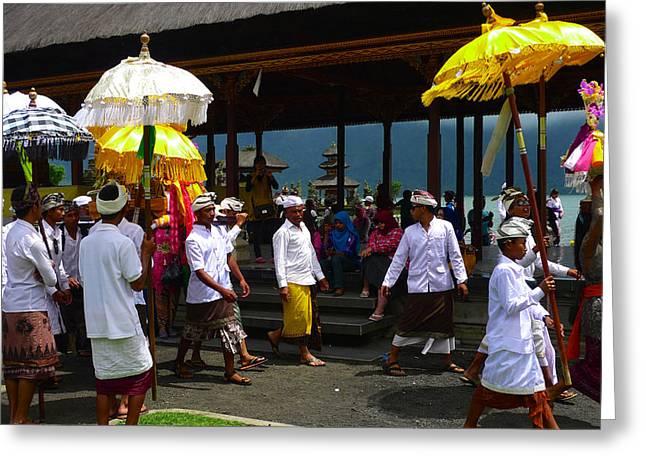 Ceremony At Lake Beratan Bali Greeting Card