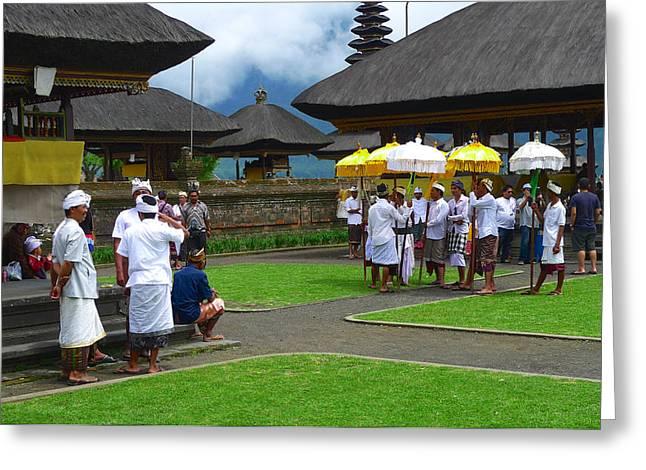 Ceremony Gathering At Beratan Bali Greeting Card