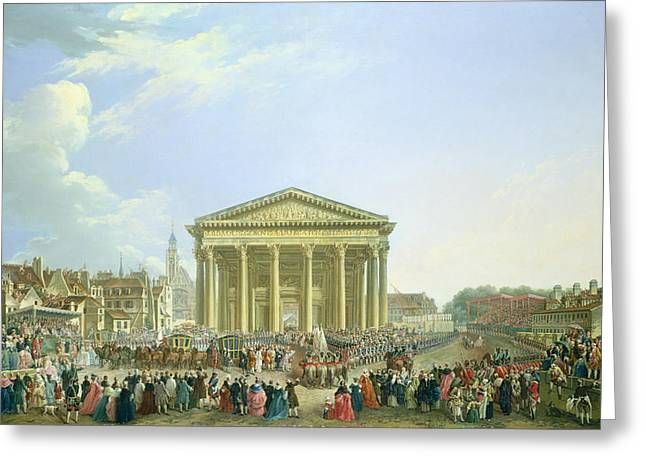 Ceremony Of Laying The First Stone Of The New Church Of St. Genevieve In 1763, 1764 Oil On Canvas Greeting Card by Pierre-Antoine Demachy