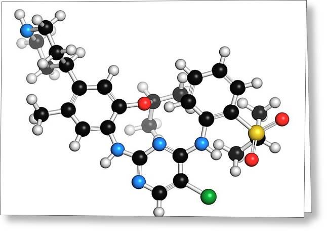 Ceritinib Cancer Drug Molecule Greeting Card