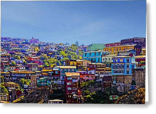 Cerro Artilleria Valparaiso Chile Greeting Card