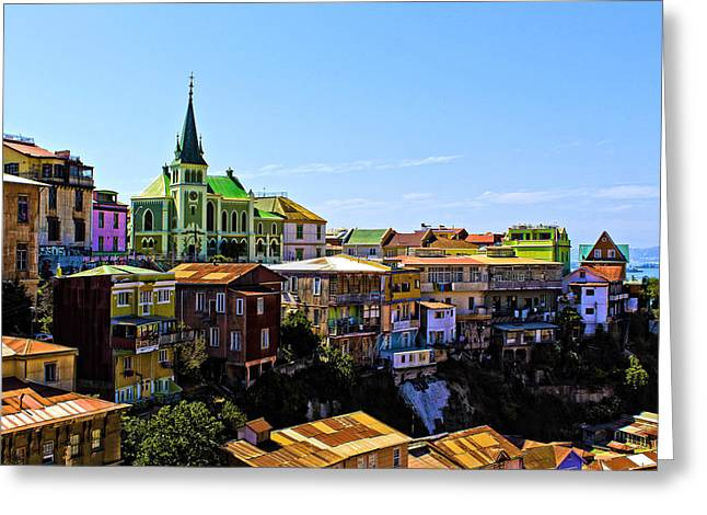 Cerro Conception Valparaiso Chile Greeting Card by Kurt Van Wagner