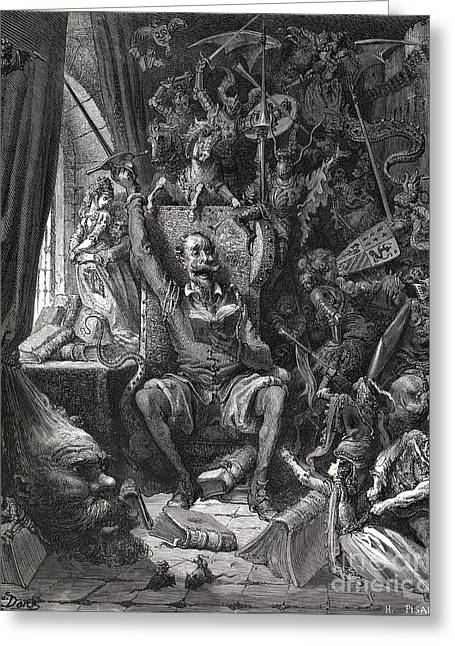 Cervantes's Don Quixote In His Library Greeting Card