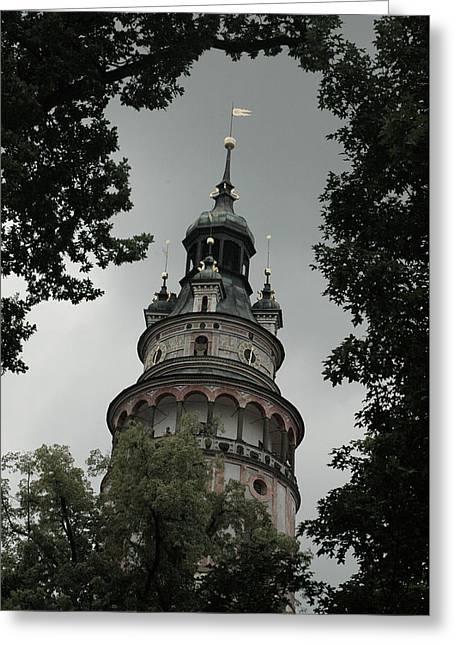 Ceske Krumlov Tower Greeting Card by Michael Kirk