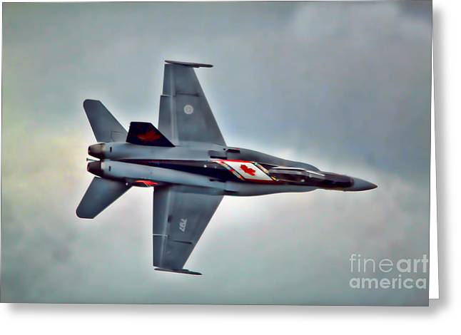 Cf18 Hornet Topview Flying Greeting Card by Cathy  Beharriell