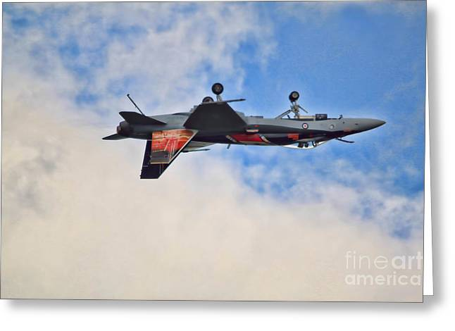 Cf18 Hornet Upside Down Fly By  Greeting Card by Cathy  Beharriell