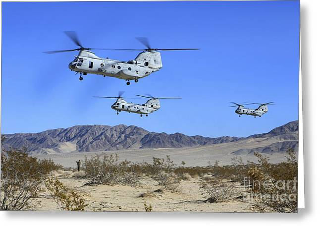 Ch-46e Sea Knight Transport Helicopters Greeting Card by Stocktrek Images