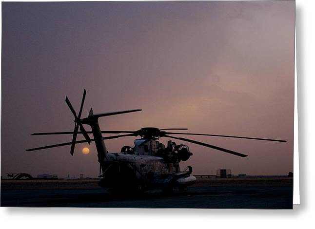 Ch-53 At Sunset In Afghanistan Greeting Card