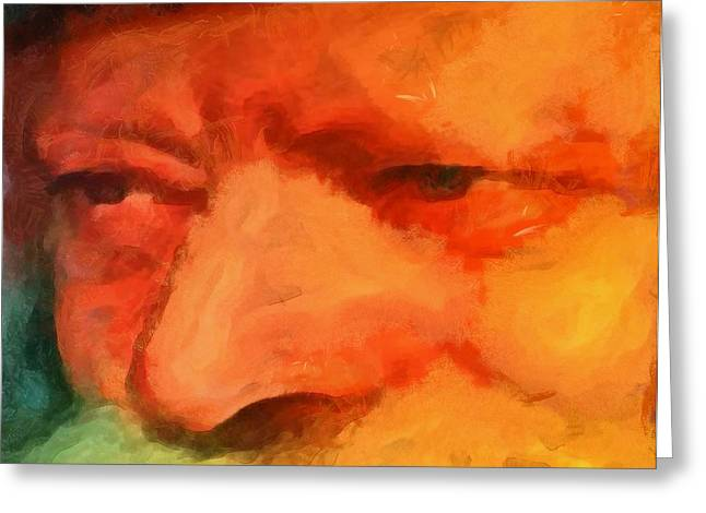 Chabad Lubavitch Rebbe Rabbi Menachem Schneerson Painting By Mendy Portrait Famous Figure Greeting Card by MendyZ