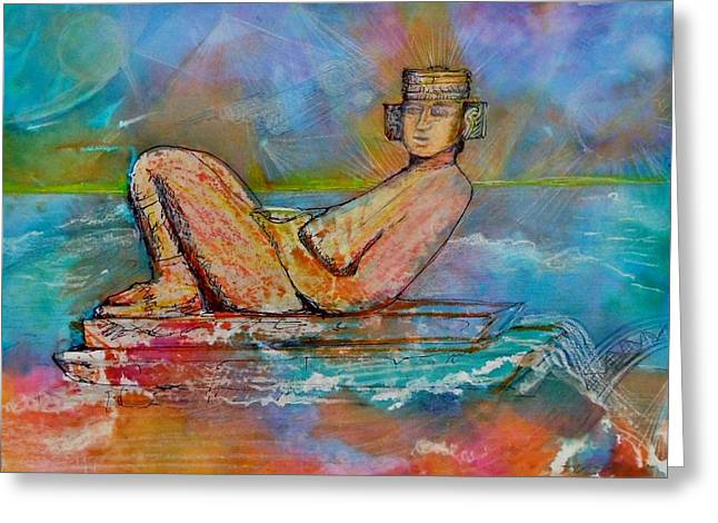 Chacmool Of The Lava Lounge Greeting Card by Terri Ana Stokes