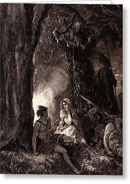 Chactas And Atala, By Gustave DorÉ. Dore Greeting Card