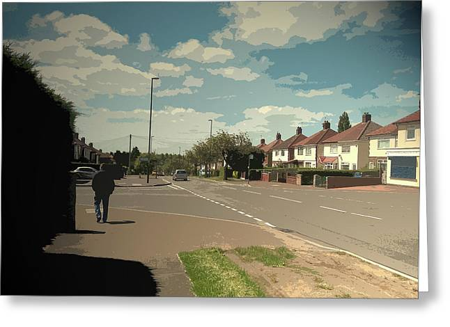 Chaddesden Park Road In Derby, Suburban Scene Pictured Here Greeting Card