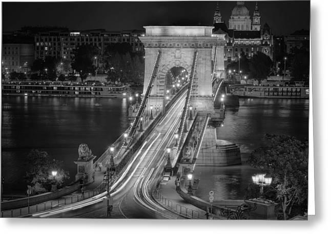 Chain Bridge Night Traffic Bw Greeting Card by Joan Carroll