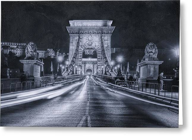 Chain Bridge Night Traffic Bwii Greeting Card