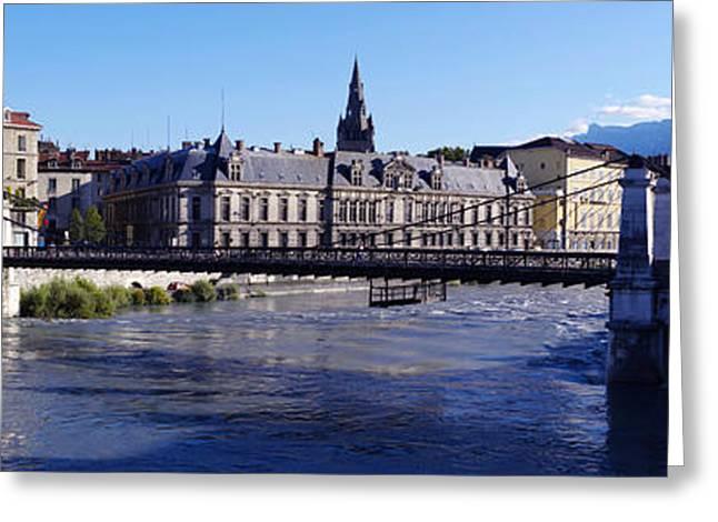 Chain Bridge Over A River, Grenoble Greeting Card